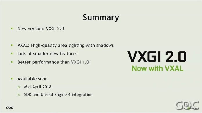 This image shows the summary of the VXGI 2.0 and when will it be released alongwith the advancements.