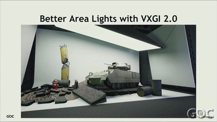 This image is about better area lights with VXGI 2.0. This shows a demo of better Area Lights with VXGI 2.0.
