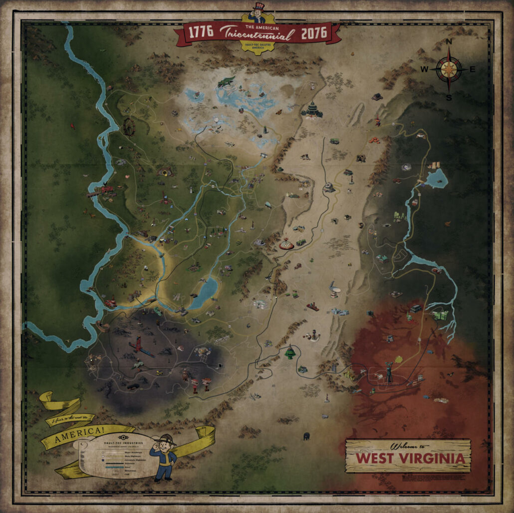 Fallout 76 Full Map Revealed New Gameplay Footage Showcases Nuke Launch And More