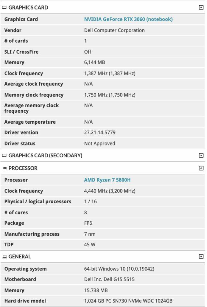 AMD Ryzen 5000 & NVIDIA GeForce RTX 30 Dell G15 5515 Gaming Laptop