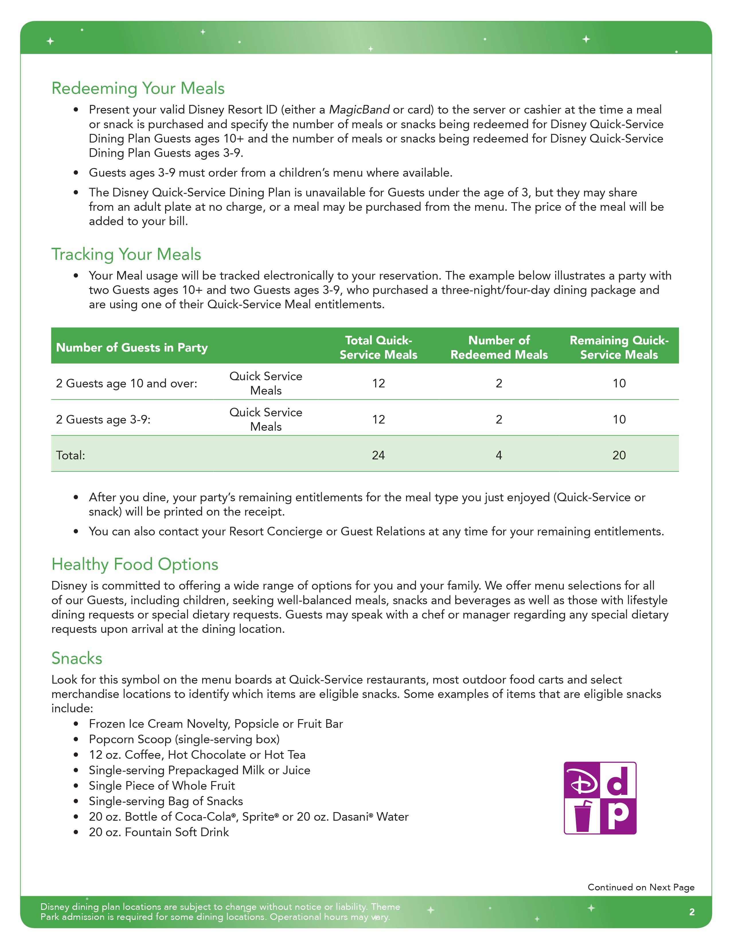 jul 10 2017 2016 disney quick service dining plan brochure page 2