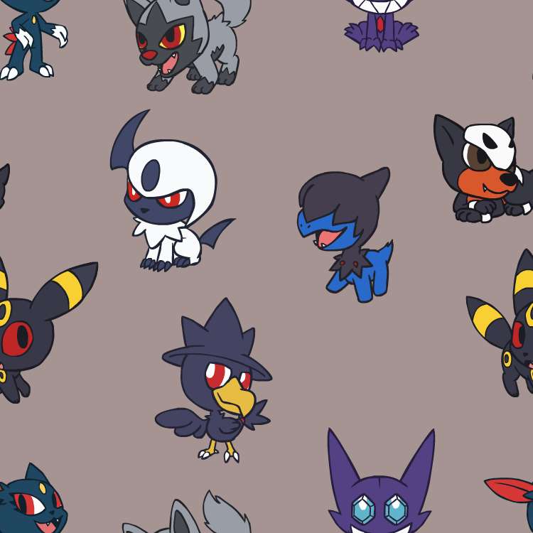 Cute Pokemon Tile Wallpaper Chibi Dark Pokemon Bg Weasyl
