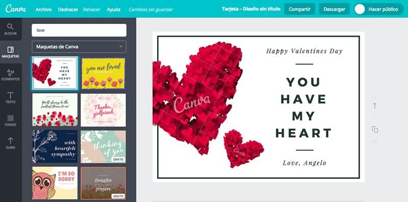 Crea tarjetas de San Valentin en Canva y sorprende a tu pareja y amigos - tarjetas-san-valentin-2017-canva