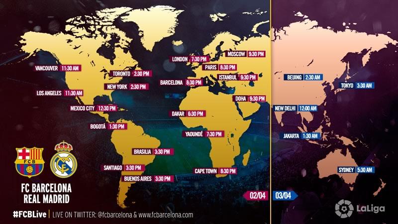 A qué hora es el Clásico Barcelona vs Real Madrid 2016 y en qué canal se transmite - horario-clasico-barcelona-vs-real-madrid-2-de-abril-2016