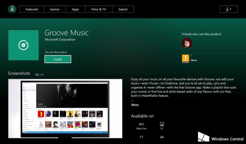 Aparecen las primeras aplicaciones universales para Xbox One - groove-xbox-store-uwp