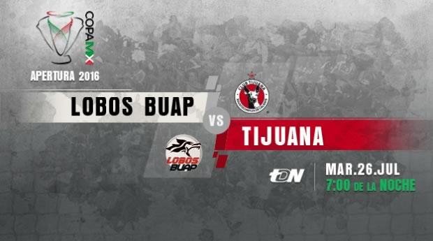 Lobos BUAP vs Tijuana, J2 de la Copa MX Apertura 2016   Resultado: 4-0 - lobos-buap-vs-tijuana-en-vivo-copa-mx-apertura-2016