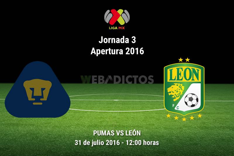 Pumas vs León, Jornada 3 del Apertura 2016 | Resultado: 1-0 - pumas-vs-leon-apertura-2016