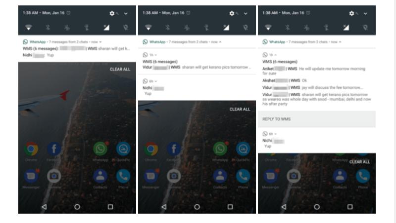 WhatsApp adopta el sistema de notificaciones de Android 7 - whatsapp-android-n-notificaciones