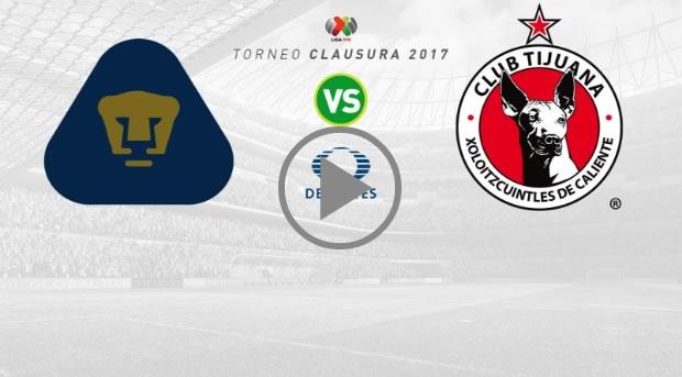 Pumas vs Tijuana, Jornada 7 Clausura 2017 | Resultado: 3-3 - pumas-vs-tijuana-clausura-2017-en-vivo