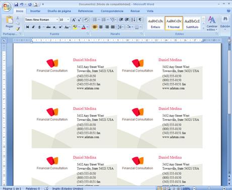 tarjetas presentacion word Crear Tarjetas de Presentación en Word