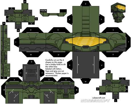 Muñecos recortables gratis en CubeeCraft - figuras-recortables-halo