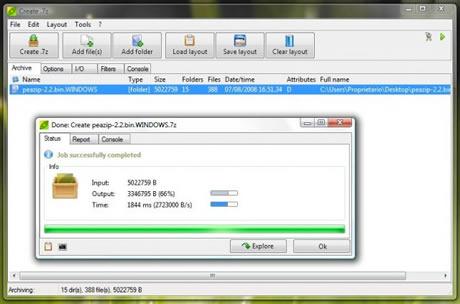comprimir archivos Descomprimir archivos con Peazip