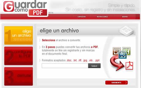convertir a pdf Convertir a PDF en GuardarComoPDF.com