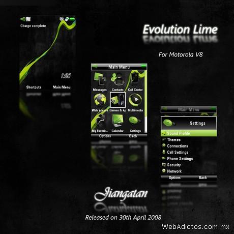 Temas motorola V8, Evolution Lime - temas-motorola-evolution
