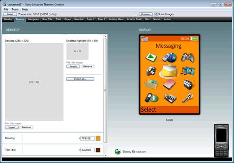 Temas sony ericsson, crealos con Sony Ericsson Themes Creator - temas-sony-ericsson