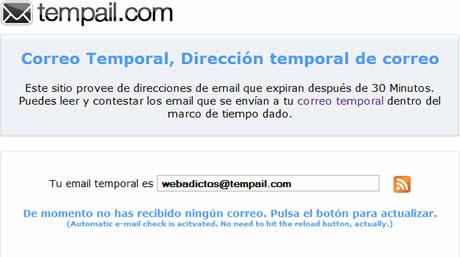 Correos temporales en Tempail - evitar-spam