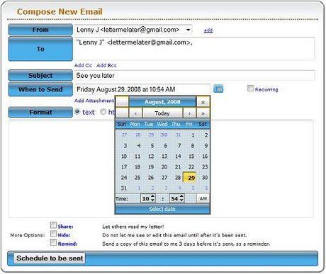 Programar envio de correos con LetterMeLater.com - enviar-correos