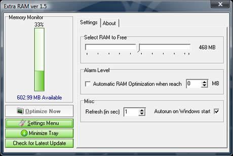 liberar memoria ram Liberar memoria RAM con ExtraRam