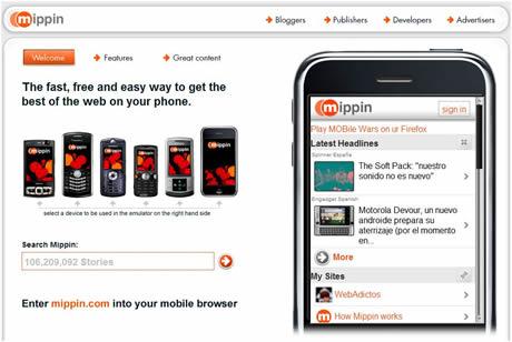 navegar en el celular Mippin, página de inicio para celulares
