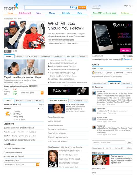 Sitio MSN con nuevo diseño - msn-new