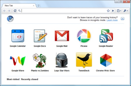 The Google Chrome launcher page Google prepara Chrome Web Store