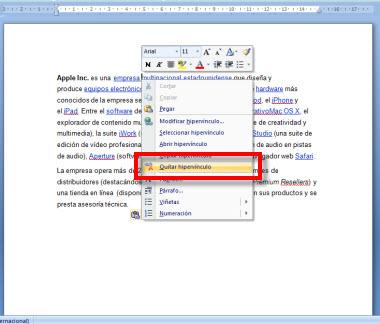 Como quitar los hipervínculos de un documento en Word - hipervinculo-2
