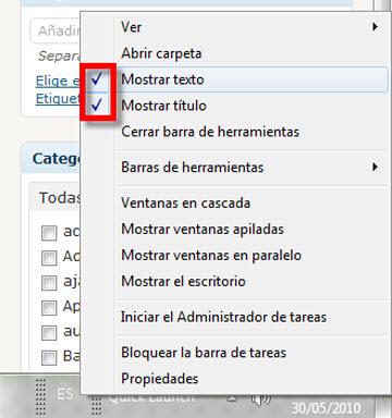 inicio rapido 4 Agrega la barra de Inicio rápido a la barra de tareas en Windows 7