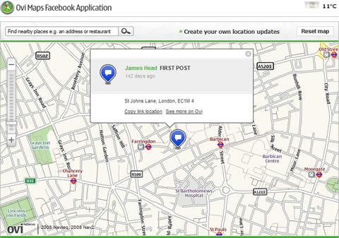 Compartir ubicación en Facebook con Nokia Ovi Maps - ovi-maps-facebook