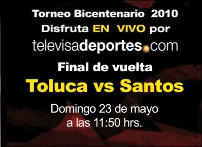 toluca santos en vivo Santos vs Toluca en vivo (partido de vuelta)