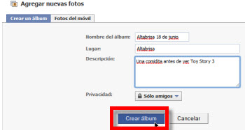nuevo album facebook Como subir fotos a Facebook