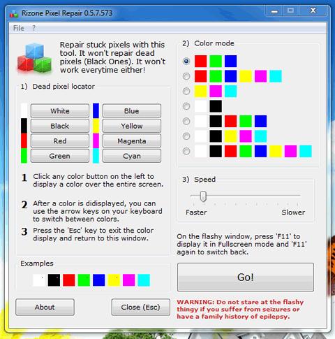 Reparar pixeles muertos con Rizone Pixel Repair - reparar-pixeles