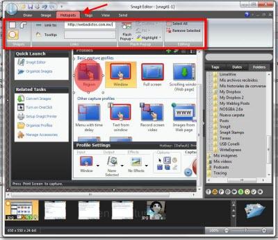 snagit editor hotspots Capturas de pantalla en Windows con Snagit