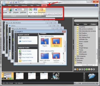 snagit editor send Capturas de pantalla en Windows con Snagit