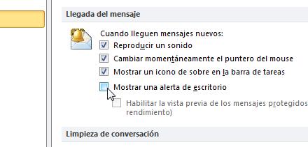 Desactivar notificaciones del escritorio de outlook 2010 4 Desactiva las notificaciones del escritorio de Outlook 2010
