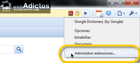 Agregar diccionario de Google en Chrome - administrar-extendiones-chrome