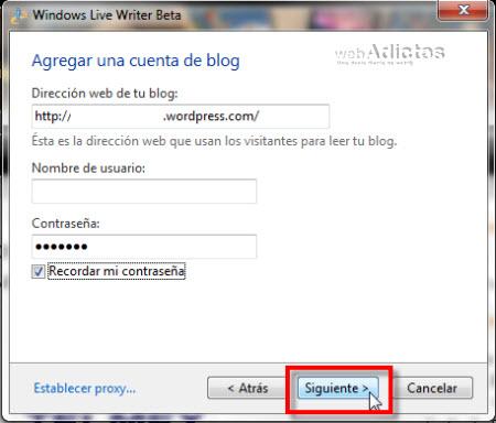 agrega cuenta blog1 Configurar Windows Live Writer Beta
