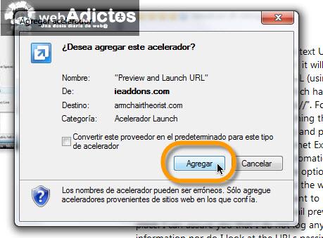 Comprueba las direcciones URL en Internet Explorer - agregar-acelerador