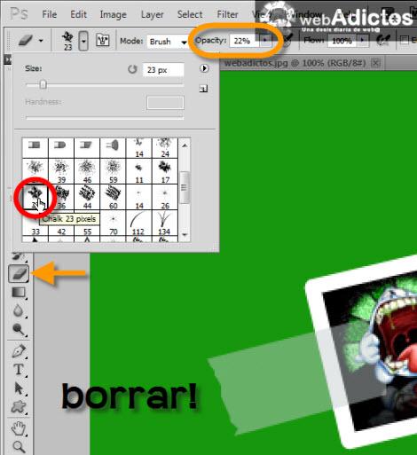 Crear una cinta adhesiva en Photoshop - borrar-seleccion-photoshop