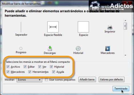 compactar menu de herramientas Compacta tu barra de herramientas en Firefox