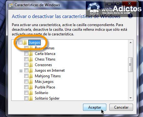 Desactivar juegos en Windows 7 - desactivar-juegos