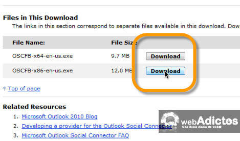 Revisa tu Facebook desde Outlook 2010 - descargar-outlook-social-connectro