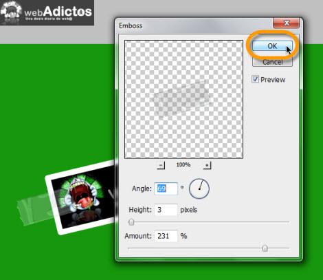Crear una cinta adhesiva en Photoshop - emboss-layer