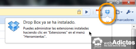 Accesa a tus archivos de Dropbox desde Chrome - extension-dropbox-instalada