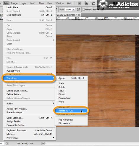 girar imagen photoshop Crear grabado de madera en Photoshop