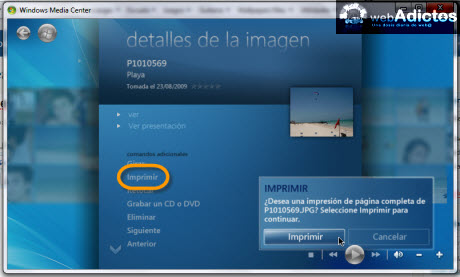 imprimir imagenes windows media center Editar imagenes en Windows Media Center