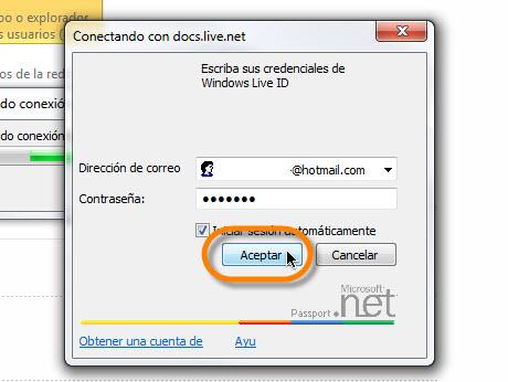 iniciar sesion windows live Sincronizar OneNote 2010 con Office Live