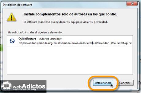 Añadir botón de Reinicio Rápido en Firefox - instalar-addon-reinicio-rapido-firefox
