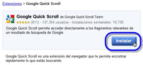 Agilizar búsquedas en Google Chrome - instalar-google-quick-scroll
