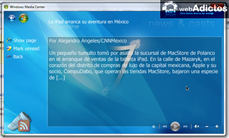 Accesa a tus RSS desde Windows Media Center - noticias-rss