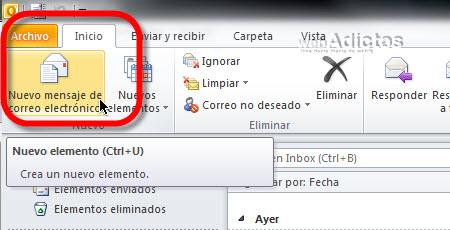 Enviar una captura de pantalla en Outlook 2010 - nuevo-correo-outlook-2010